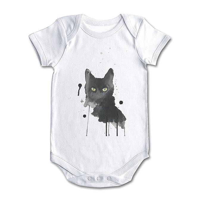 Amazon.com: bbabylike el gato negro pintura de acuarela ...