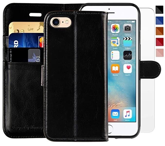 sports shoes 46d13 af7b7 iPhone 7 Wallet Case/iPhone 8 Wallet Case,4.7-inch,MONASAY [Glass Screen  Protector Included] Flip Folio Leather Cell Phone Cover with Credit Card ...