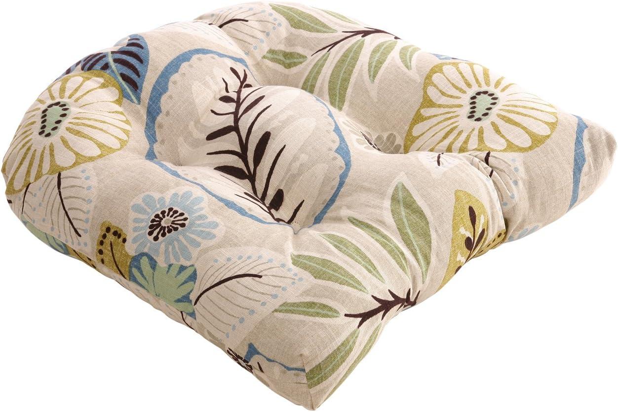 Pillow Perfect Beige Blue Tropical Chair Cushion