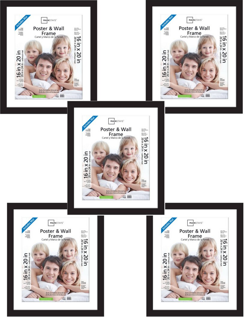 Mainstays Decor` Pack of 5 Classic Style 20x24 Matted to 16x20 Wide Gallery Poster and Picture Frame, Black, Buy More! Save More!