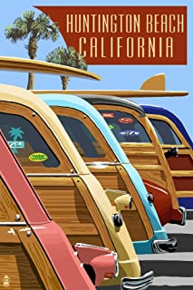 product image for Huntington Beach, California - Woodies Lined Up 43463 (24x36 Signed Print Master Art Print - Wall Decor Poster)