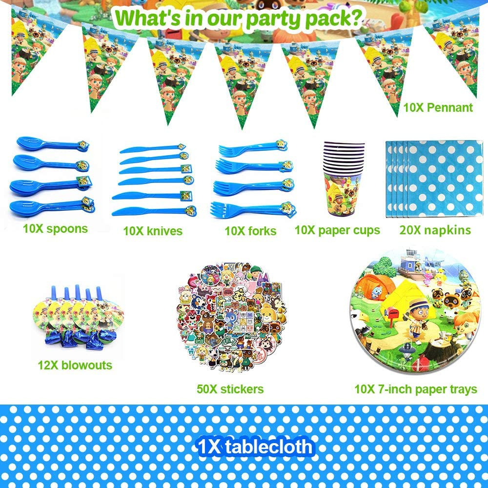 incluidos Platos de Papel Desechables Pegatinas y manteles Juego de 143 Piezas banderines KOOMOVER Animal Crossing Party Supplies Favores de Fiesta Decoraciones de Fiesta reventones