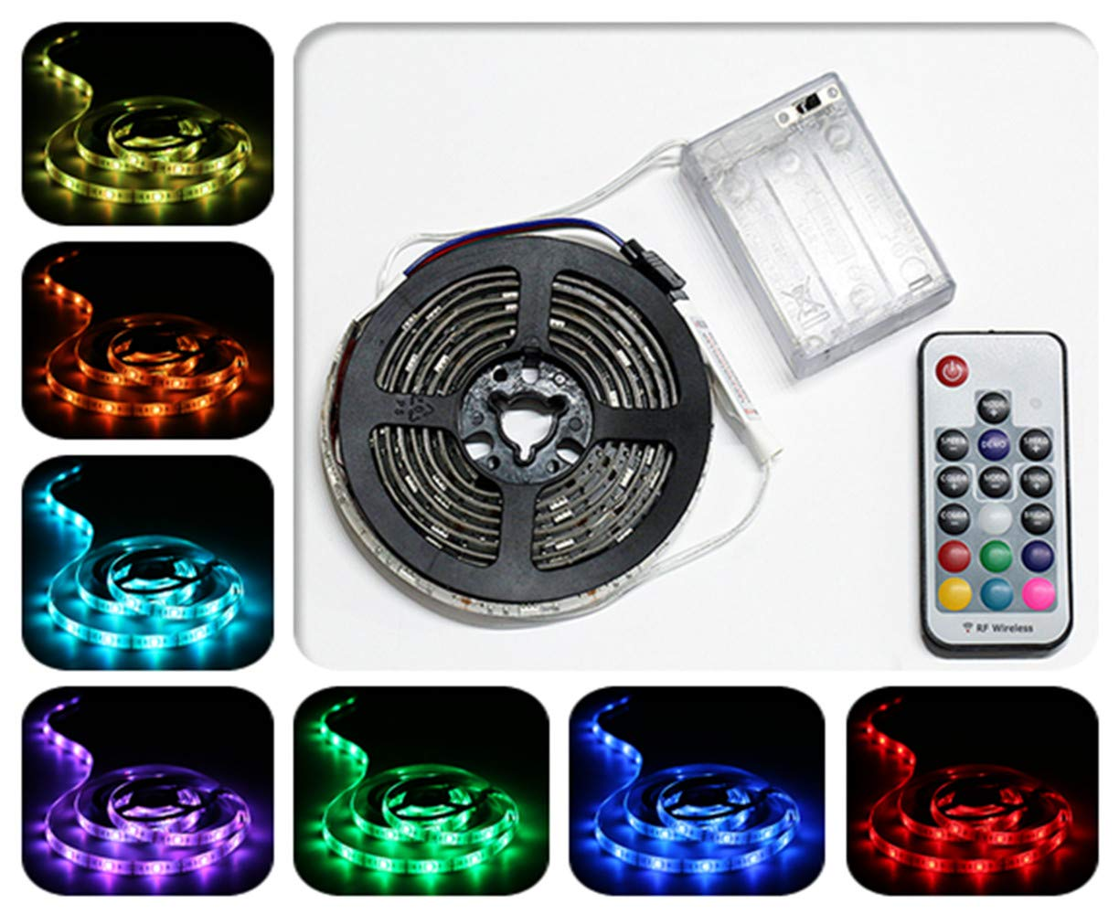 ACONDE Battery Powered LED Strip Lights RF Remote Controlled Multi Color Changing DIY Indoor and Outdoor Decoration 6.56ft 2M Waterproof