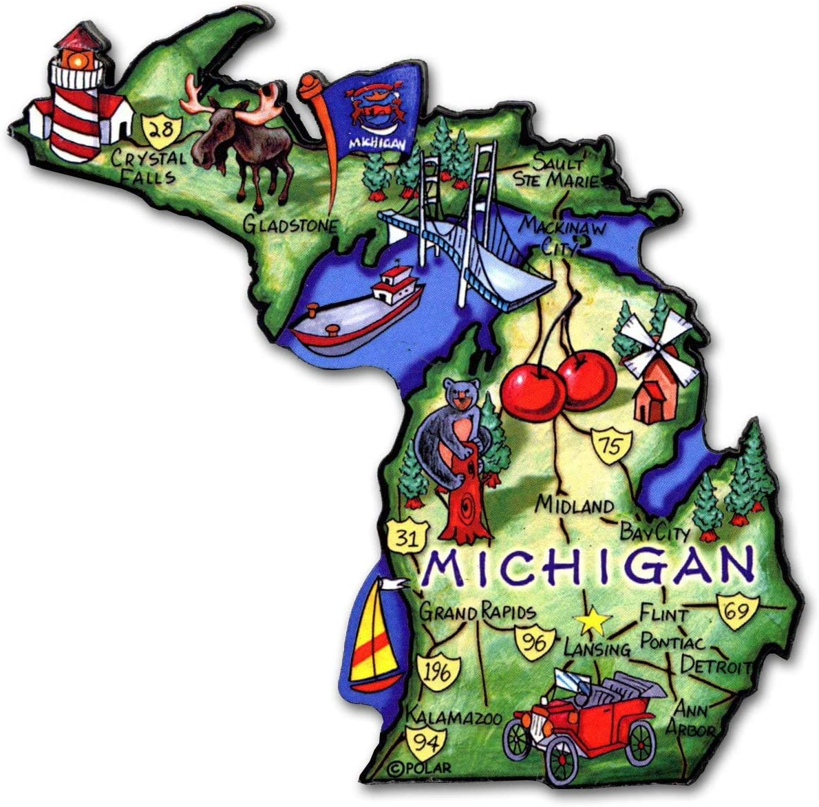 Michigan the Great Lakes State Artwood Jumbo Fridge Magnet