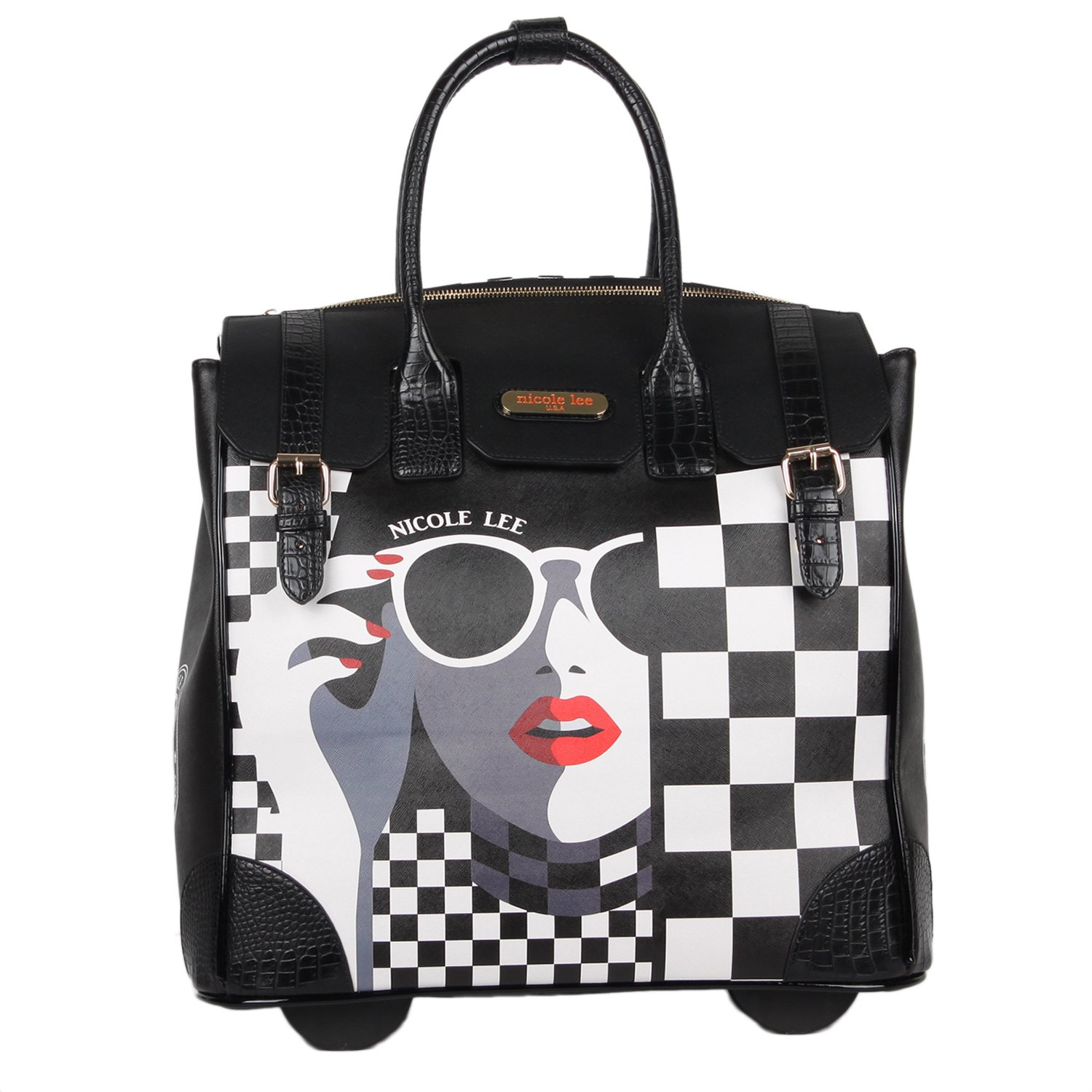 Nicole Lee Women's Fashion [White] Print Rolling Business Laptop Compartment Travel Tote, Lady in Sunglass, One Size