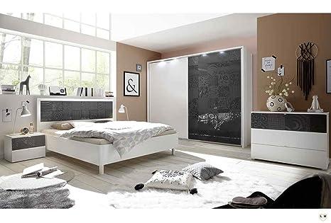 LOLY Blanc ET Gris Ensemble Chambre À Coucher Design: Amazon ...