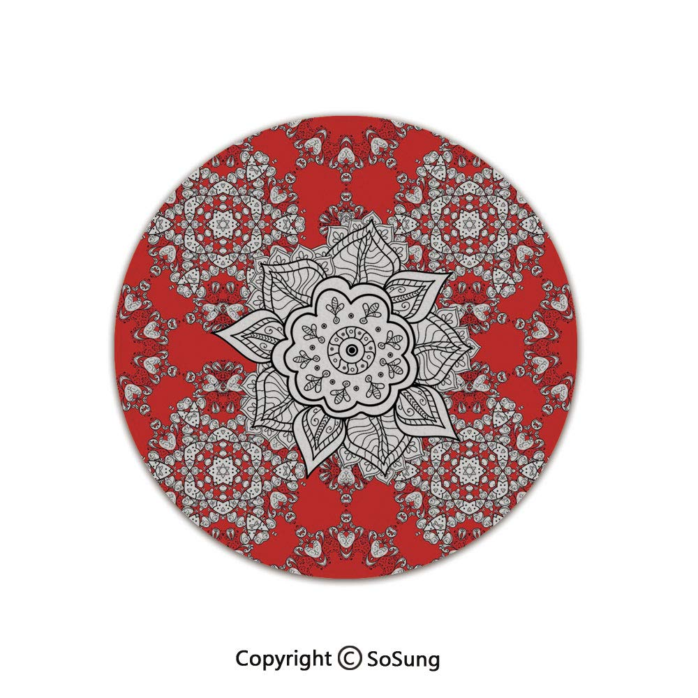Red Mandala Round Area Rug,Tribal Asian Ethnic Design Pattern Doodles Mandala Style Flowers,for Living Room Bedroom Dining Room,Round 6'x 6',Scarlet White and Black by SoSung