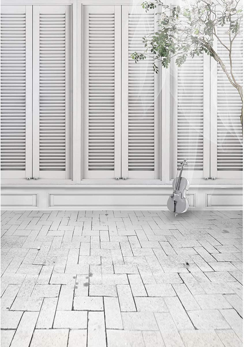 Photography Backdrop 5x7 White Wooden Windows Elegant Violin with Green Tree Background for Wedding Photography Gray Brick Floor Photo Studio Background Customized