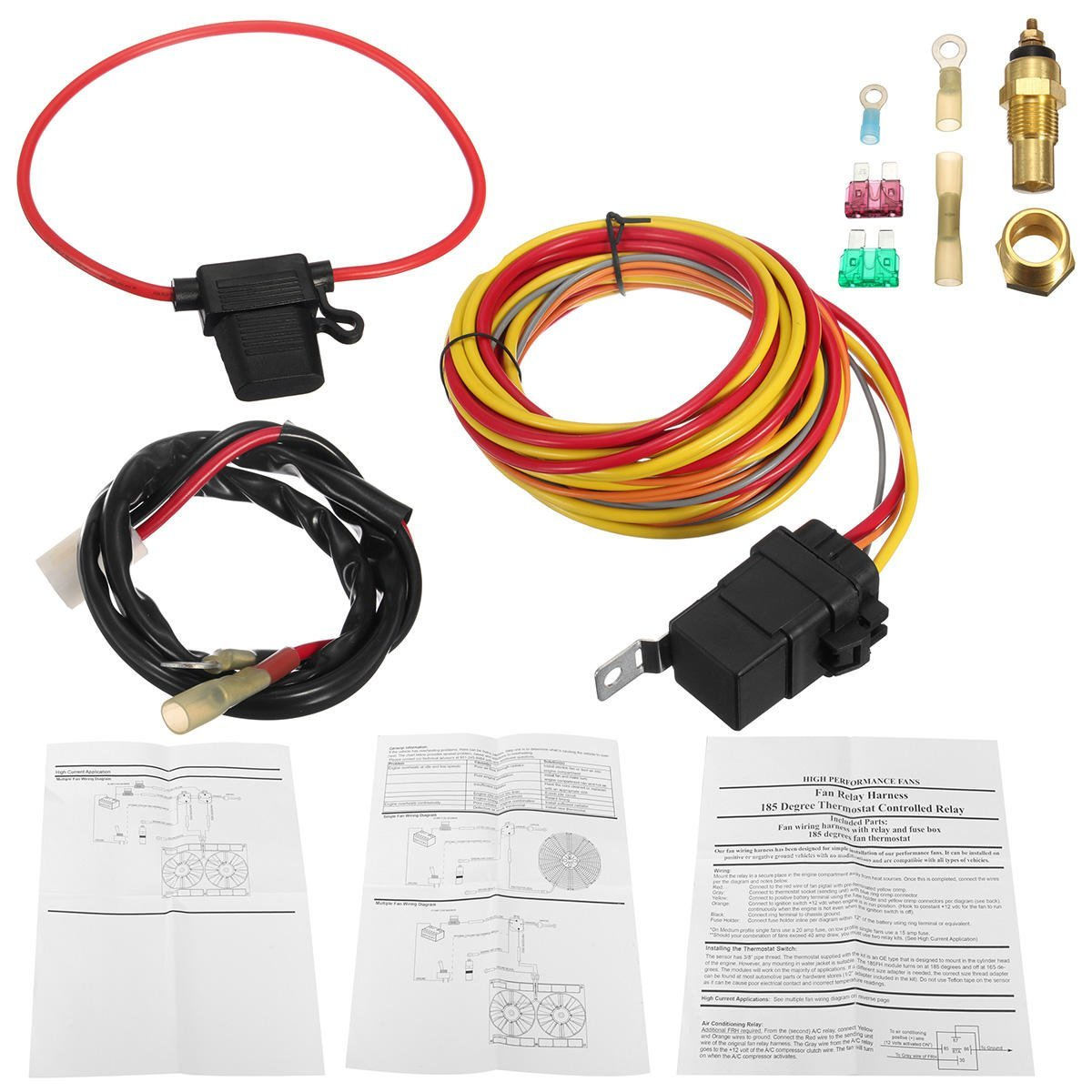 Dual Electric Fan 40 Relay Wiring Harness Thermostat Sensor ... on h and m horse, h and m backpack, h and m tube, h and m tower, h and m boots, h and m furniture, h and m wetsuit, h and m tumblr, h and m bag, h and m vest,