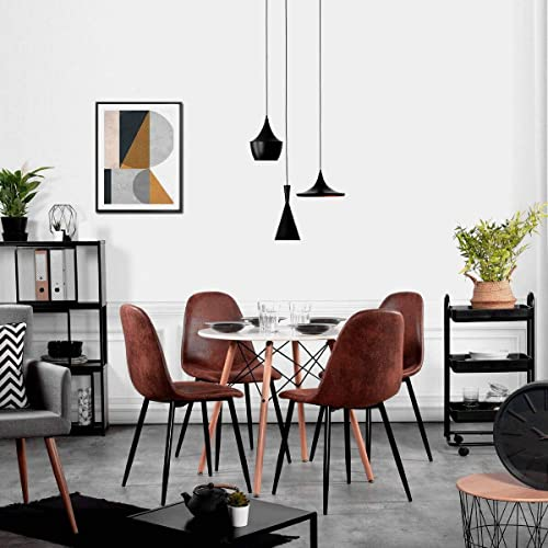 Magshion Side Metal Legs Cushion Seat Back Dining Room Chairs Set of 4 PU Leather Coffee