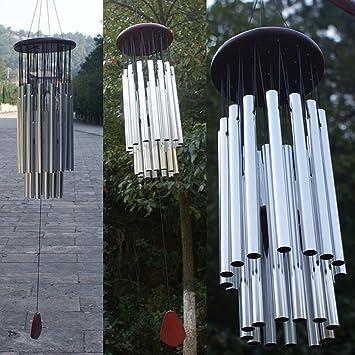 dairyshop Tubo 27 tubos plateado Iglesia Wind Chimes, Campanas Colgante de al aire libre hogar