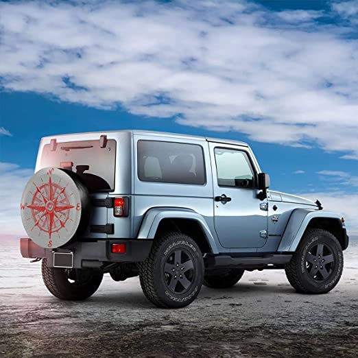 Vbnbvn Reserveradabdeckung Compass Polyester Universal Dust-Proof Corrosion Protection Wheel Covers for Jeep Trailer RV SUV Truck and Many Vehicles 14 15 16 17