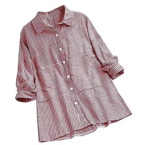 Jialili camisa casual de manga larga con botones y solapa a rayas ...