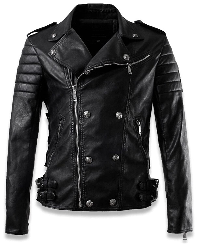 SZYYSD New Men's Skull Rivet Classic Leather Moto Jacket