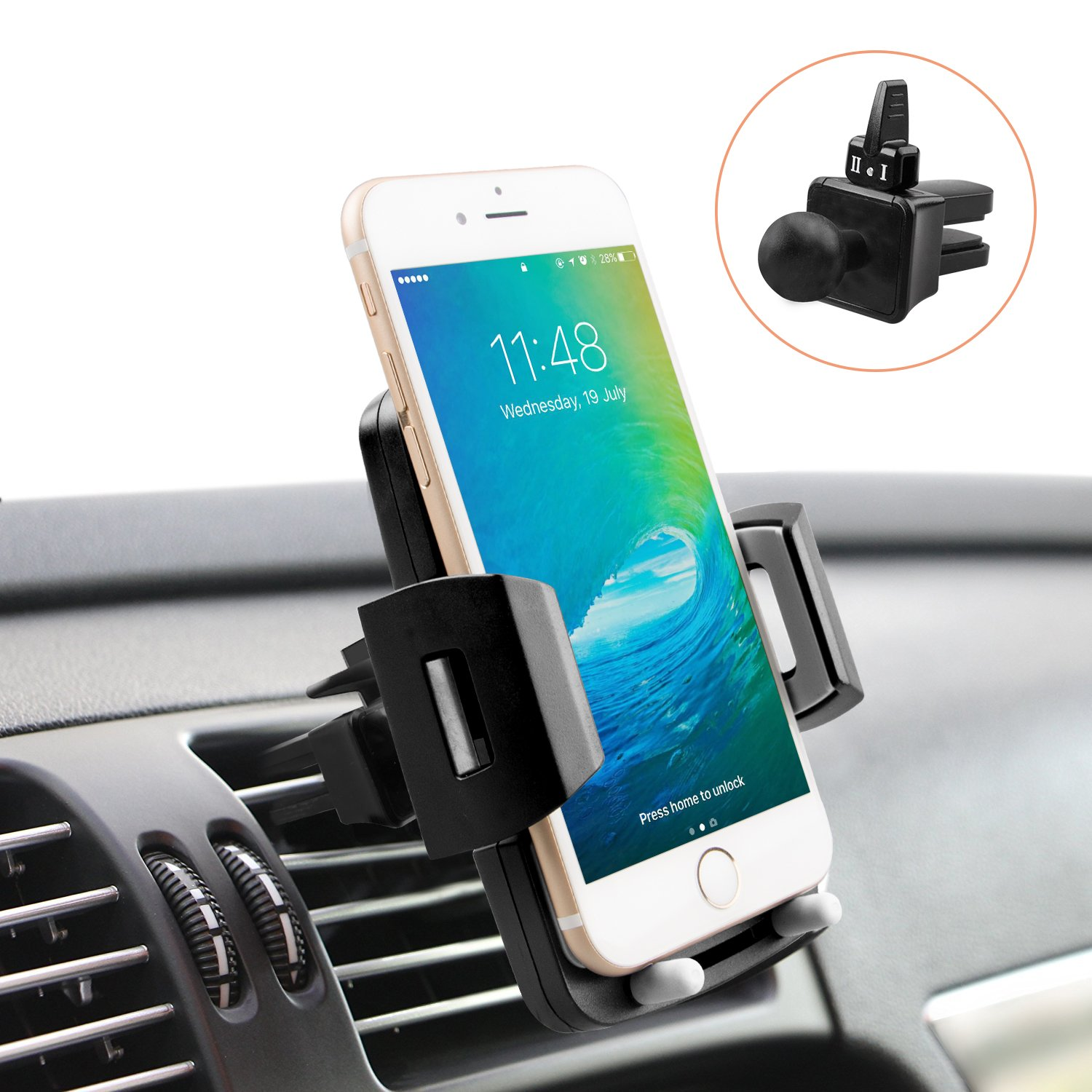 Universal Car Holder, Cell Phone Holder for Car Quntis Phone Holder Car Mount Car Air Vent Holder Cradle, 360 Rotation Cell Phone Mount Compatible with Samsung Galaxy LG Motorola Smartphones