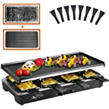 Artestia raclette table grill,electric indoor grill,Portable 2 in 1 Korean BBQ Grill Indoor with 8 Paddles ,1200W electric gr