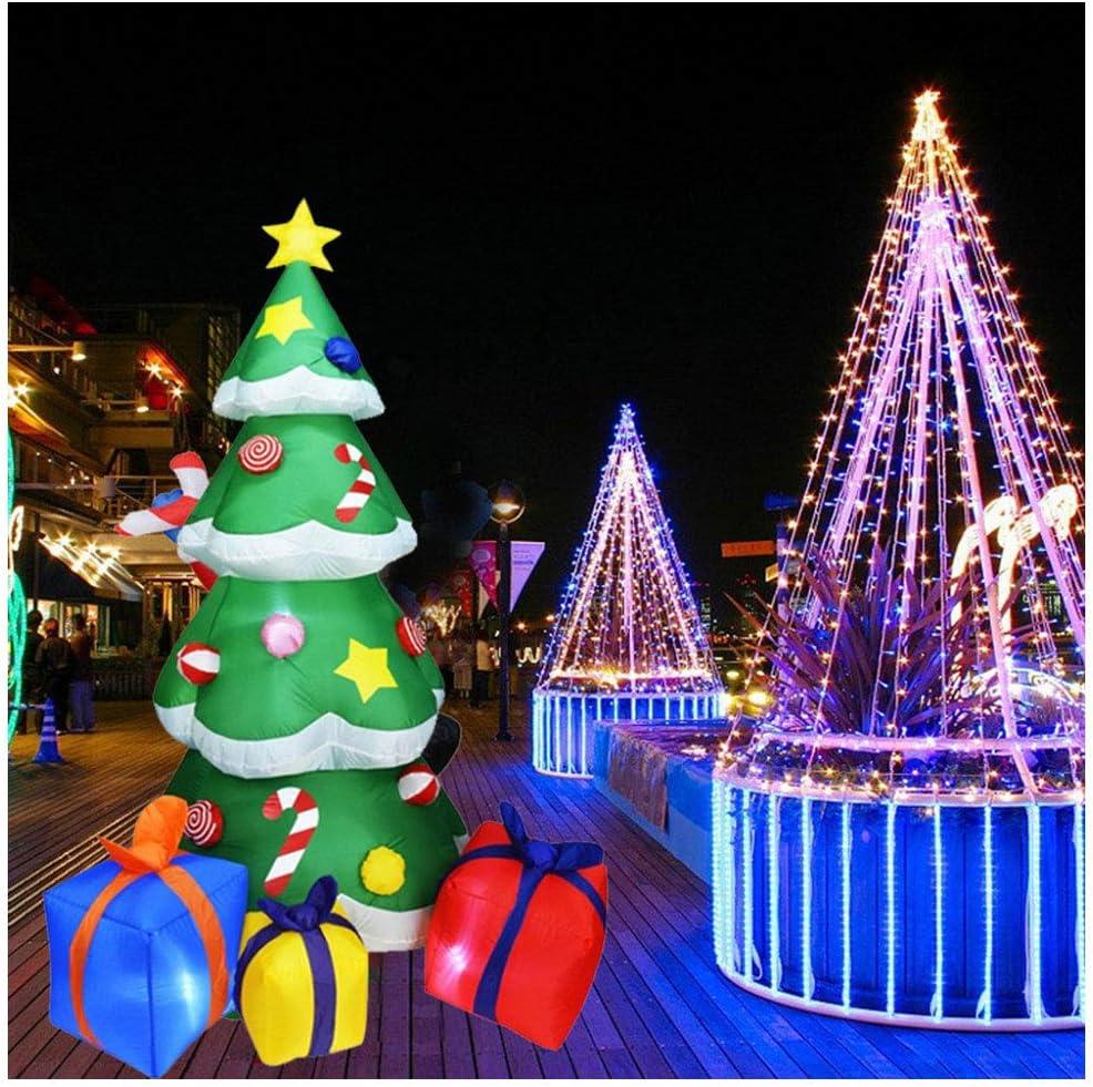 YUASIA 7 Pies LED Se Iluminan Árbol De Navidad Gigante Inflable con 3 Cajas De Regalo para La Decoración De Blow Up Yard, Bajo Techo En Exteriores Jardín Jardín Decoración Navideña: Amazon.es: