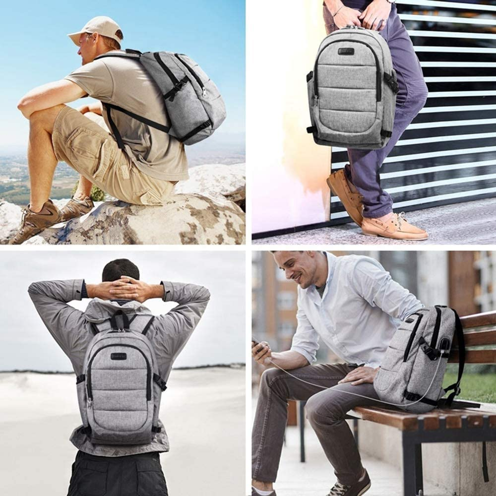 HZZ Leisure Backpack Large Capacity Tablet Notebook Men and Women Business Computer Bag USB Charging Backpack