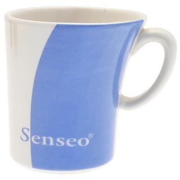 Senseo Design Porzellan Tasse in creme-weiß und blau, Glas, Kaffee ...