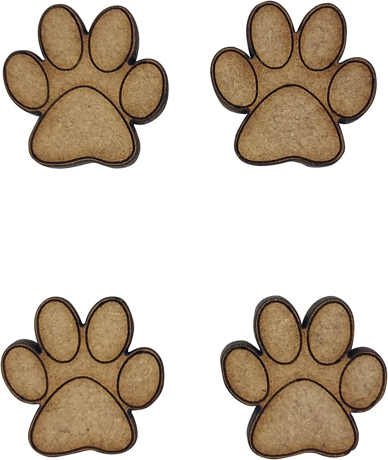 laser cut 3mm mdf embellishments decoupage, wooden craft DOG CAT PAW shapes