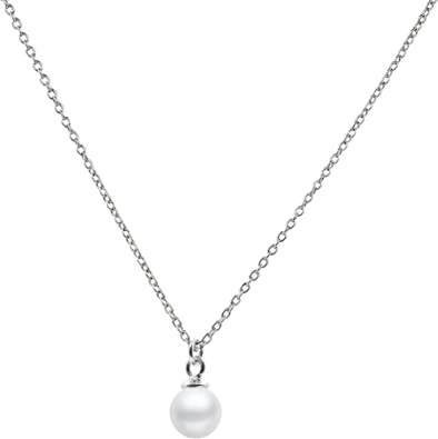 White Freshwater Cultured Pearl Pendant Necklace 16//18 Sterling Silver Chain Necklace Pendant
