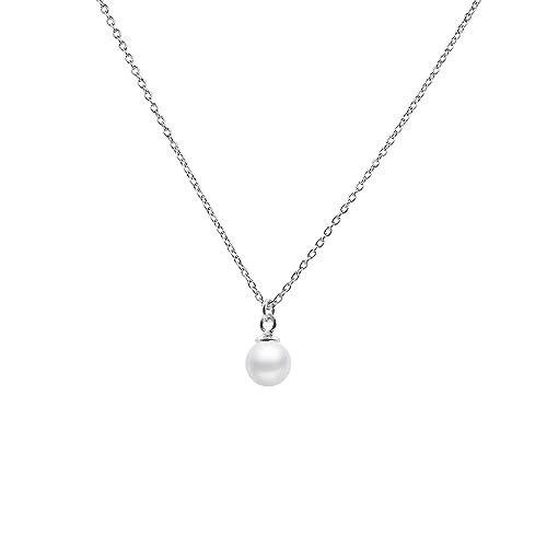 925 Sterling Silber Halskette Kette Echt Perle Anhänger Silberkette Geschenk NEU