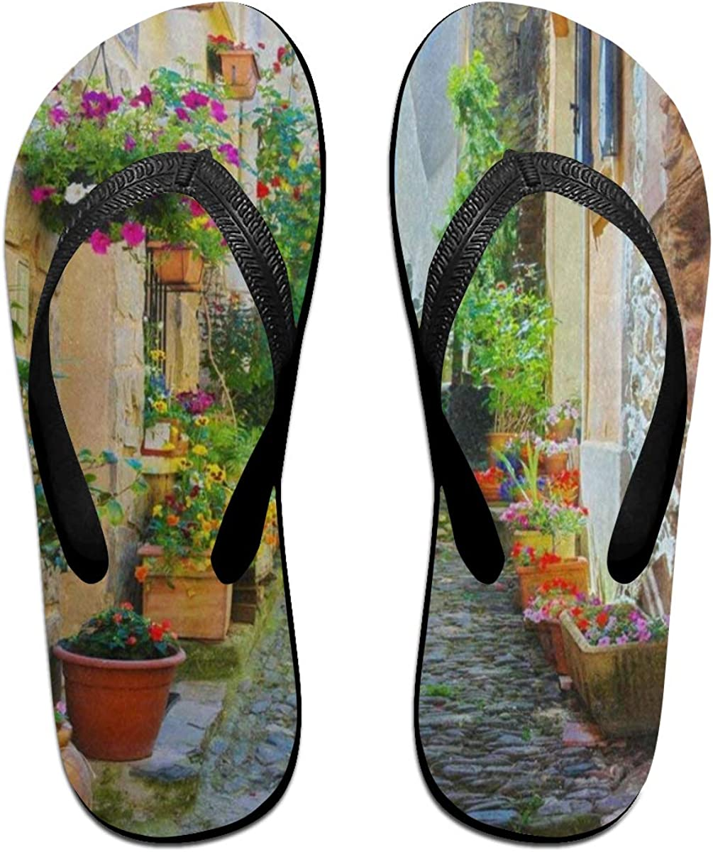 Ladninag Flip Flops Colorful and Narrow Street in Provence Village Cityscape Womens Outdoor Slippers Brazil Sandals for Youth