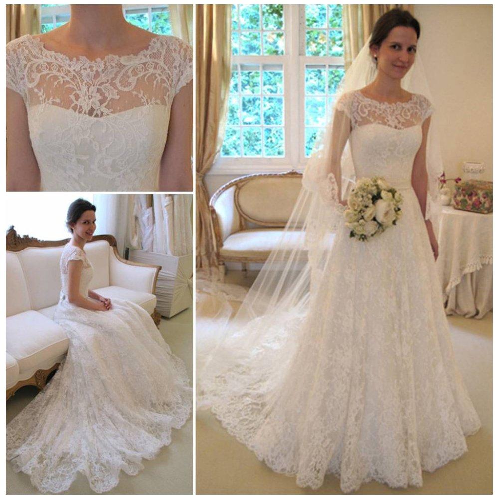 Dresses Vampal Ivory Vintage Cap Sleeve Sheer Lace Wedding