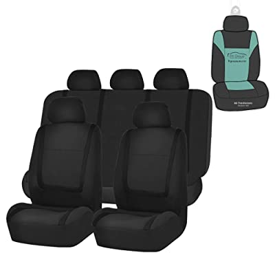 FH Group FB032115 Unique Flat Cloth Seat Covers (Black) Full Set with Gift - Universal Fit for Cars Trucks and SUVs: Automotive