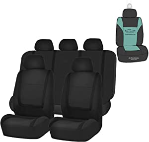 FH Group FB032115 Unique Flat Cloth Seat Covers (Black) Full Set with Gift - Universal Fit for Cars Trucks and SUVs
