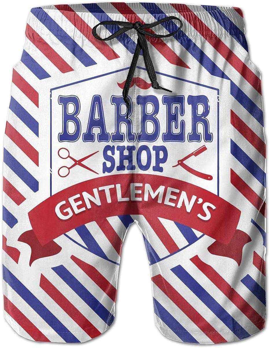 FAVIBES Swim Trunks Summer Vintage Emblema de Barbería Bandera Pantalones Cortos de Playa Bolsillos Botas de Mano para Hombres, Talla M: Amazon.es: Ropa y accesorios