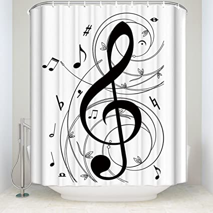 Amazon BedSweet Music Decor Shower Curtain Notes Black
