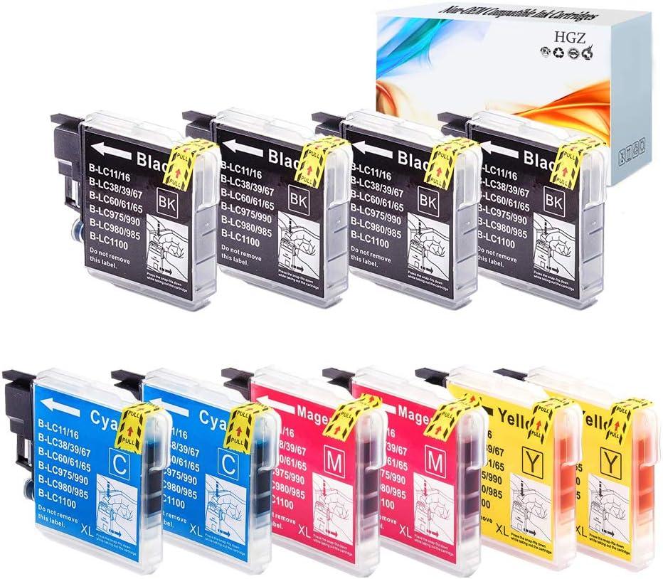 HGZ 10 Pack Compatible Ink Cartridge Replacement for Brother LC-11 LC-16 LC-38 LC-61 LC-65 DCP-585CW DCP-595CN DCP-J715W DCP-6690CN DCP-6690CW Inkjet Printer 4 Black,2 Cyan,2 Magenta,2 Yellow