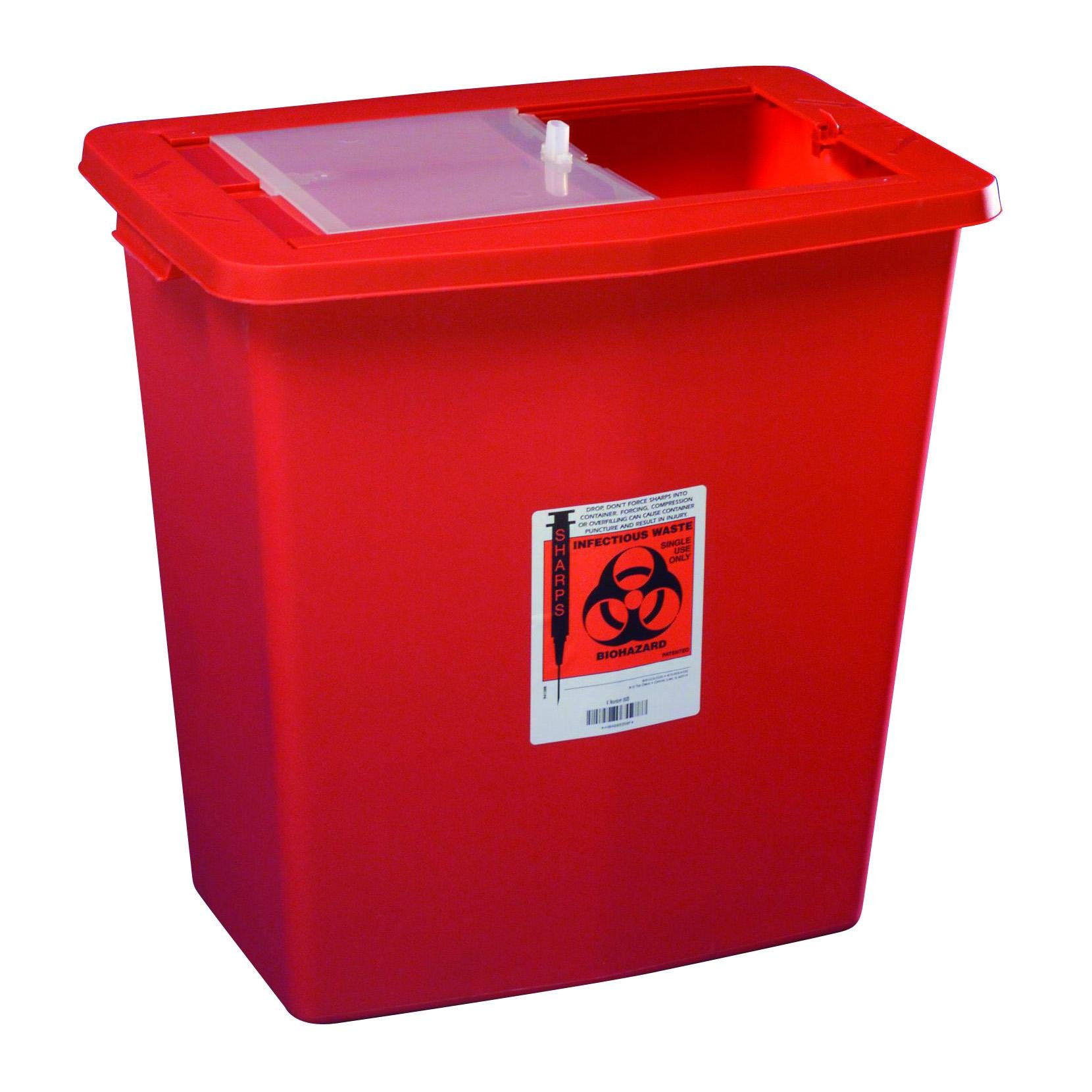 Sharps Container, 12 Gallon Red W/Sliding Lid, 1 ea