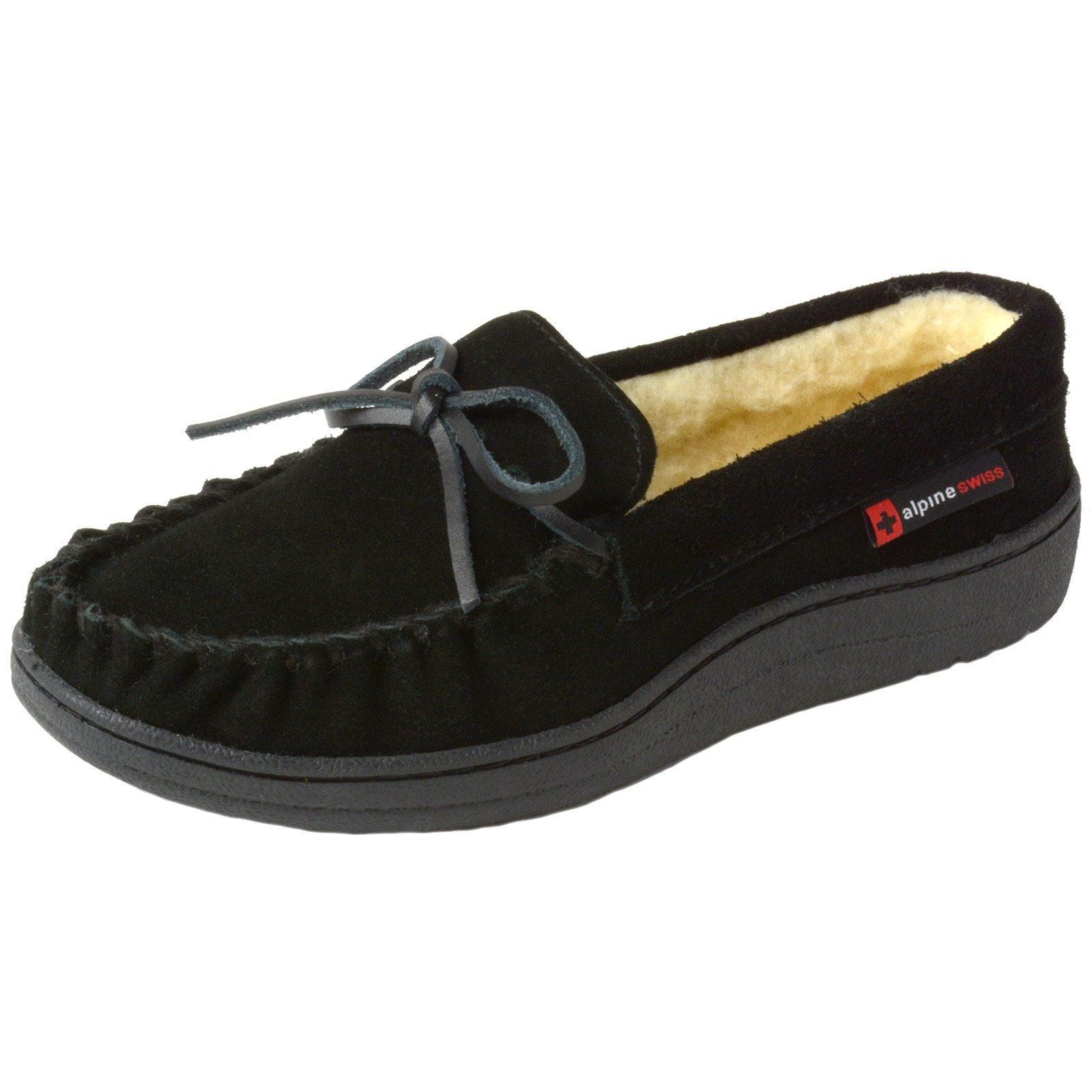 alpine swiss Sabine Womens Suede Shearling Slip On Moccasin Slippers Black 8 M US