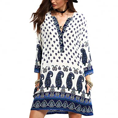 Casual Bohemian Beach Loose Women Summer Ethnic Dress Patterns Print Boho Mini Blouse Dress 3/