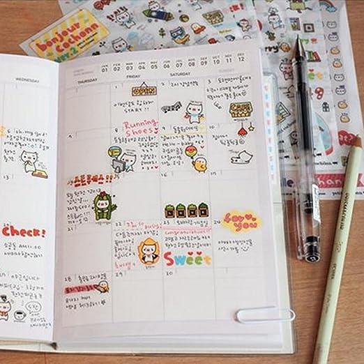 Yueton 12 Sheet Cute Cartoon Transparent Calendar Diary Book Sticker