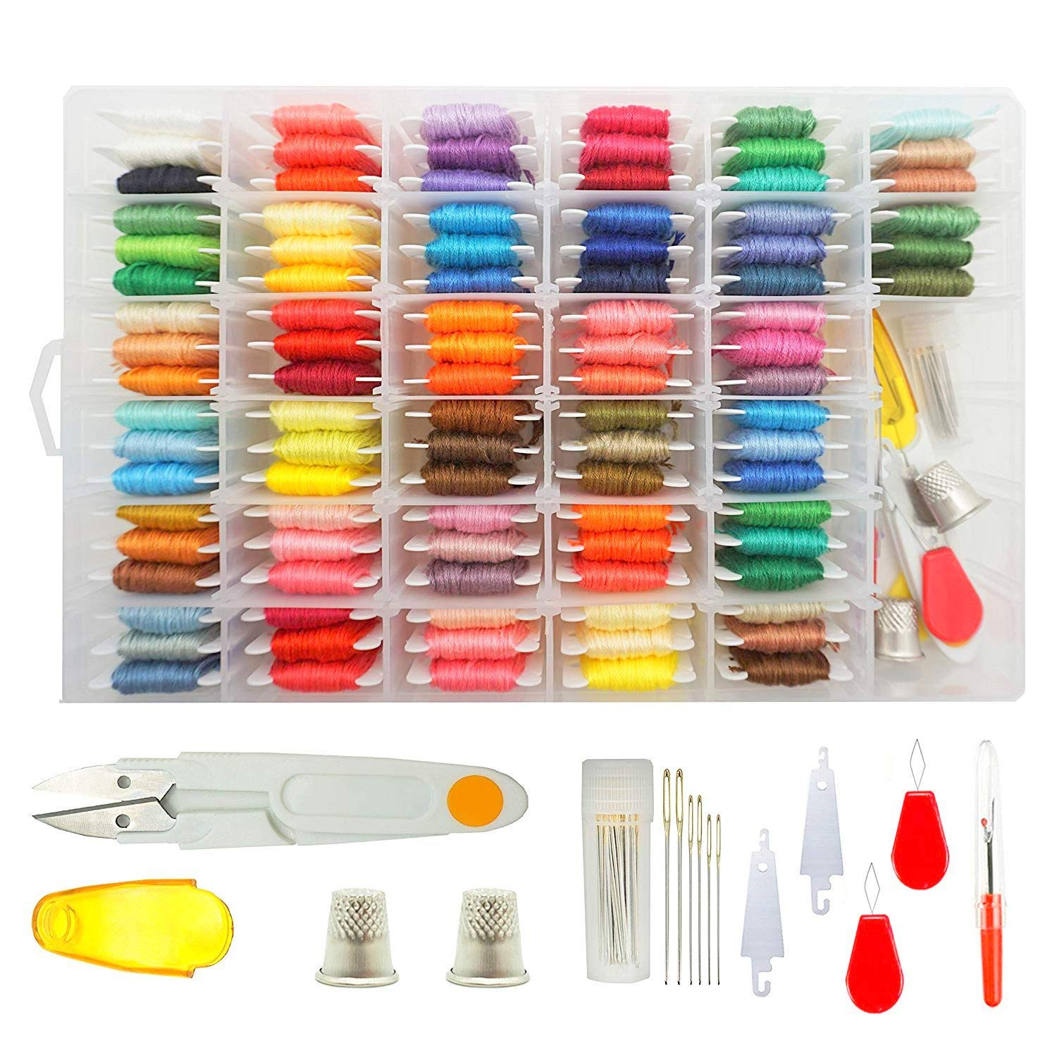 Embroidery Floss Cross Stitch Threads - Darley 96 Colors Friendship Bracelet String with Organizer Storage Box, Floss Bobbins and 38 Pcs Cross Stitch Kits Darley Arts & Crafts
