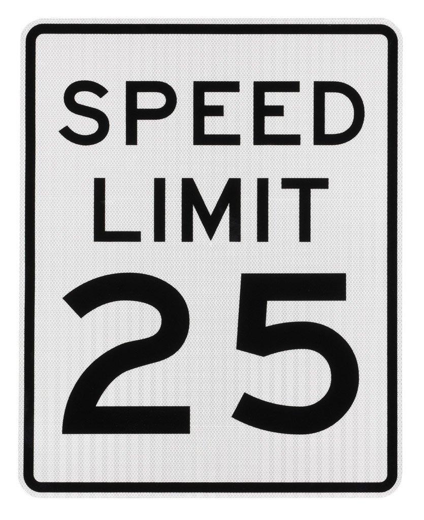 Elderlee, Inc. 9524.21 Speed Limit Sign, 25 MPH, MUTCD R2-1 .100 Aluminum, 24 x 30 Inch 3M High Intensity Reflective Sheeting