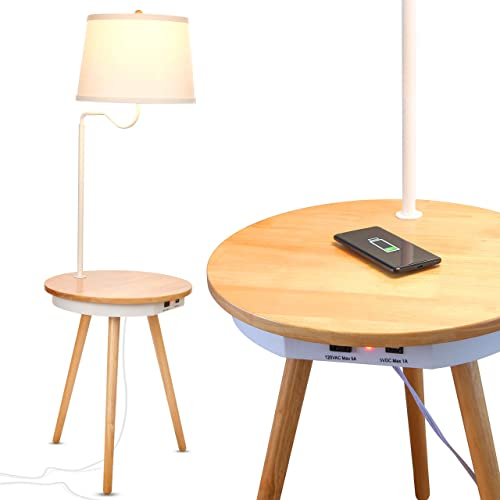 Brightech – Owen Side Table with Attached LED Lamp – Mid Century Modern End Table for Living Rooms Nightstand with Wireless Charging Pad USB Ports – Tripod Bedside Table – Natural Wood
