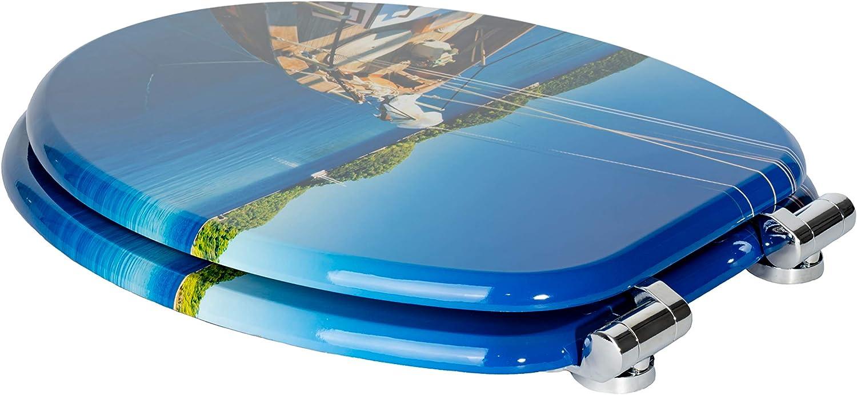 einfache Montage inklusive Montageanleitung W1022C Boat bequemer Sitzkomfort hochwertige Qualit/ät und viele bunte Motive Holzkern WC Sitz mit Absenkautomatik von Sanfino