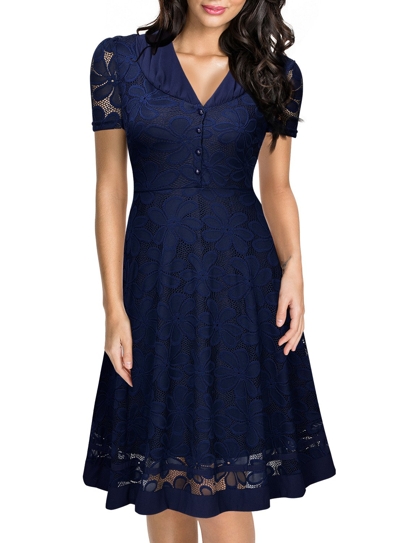 Miusol Women's Cap Sleeve 1950s Style Vintage Black Lace A-line Dress (Large, Navy Blue)