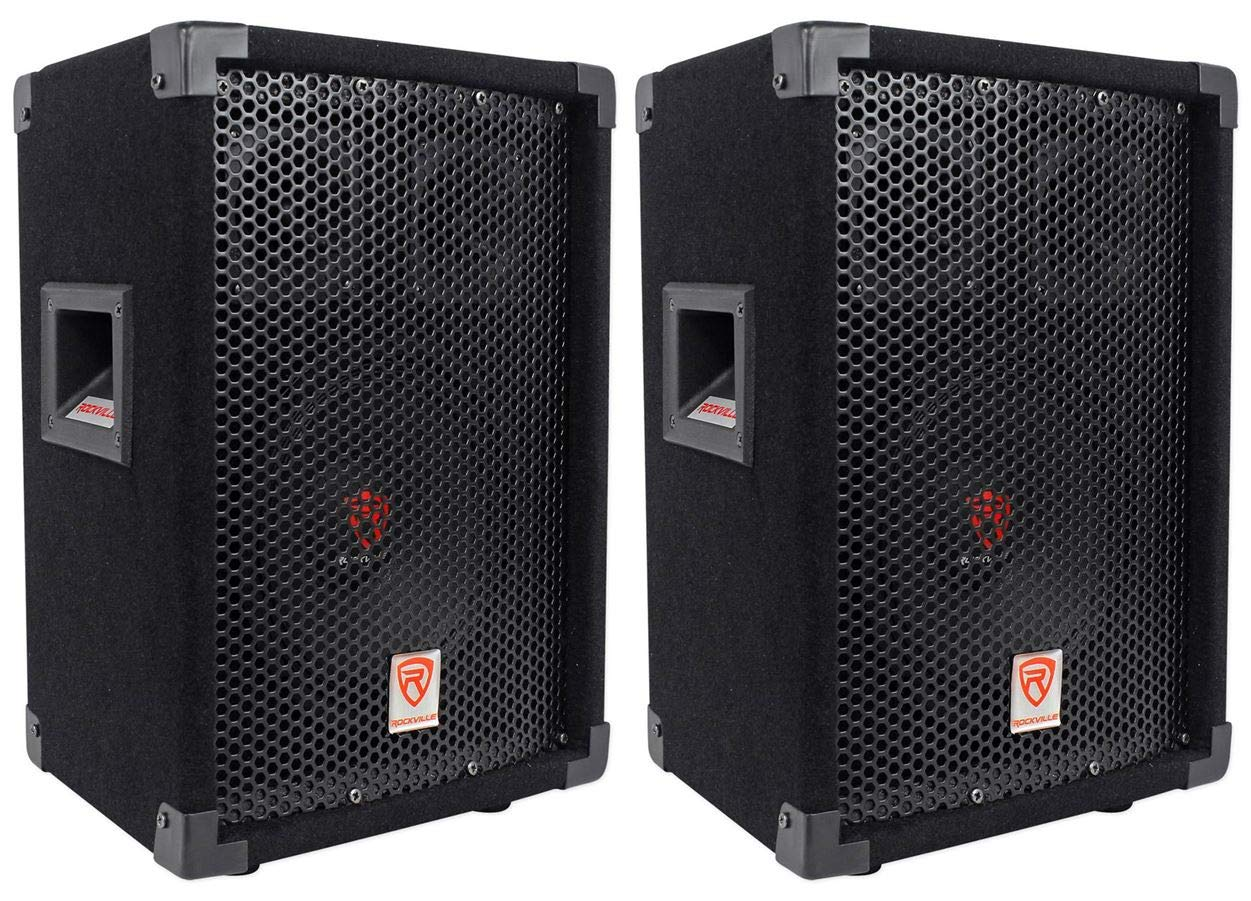 (2) Rockville RSG8 8'' 300 Watt 2-Way 8-Ohm Passive DJ/Pro PA Speaker by Rockville