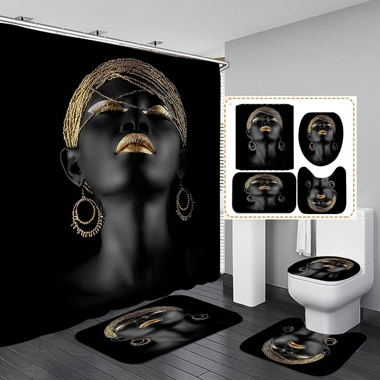 Jayden&Madge 4PCS/Set Elegant Black Girl Fabric Shower Curtain, Sexy Afro Lady with Gold Lips African American Woman Modern Black Art Bathroom Decor, Non-Slip Bath Rugs Toilet Carpet, Golden Makeup