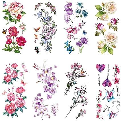 8 Hojas Pegatinas de Tatuajes Temporales - Etiqueta Engomada Del ...