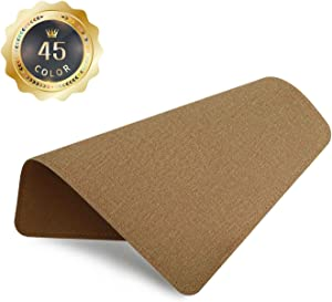 PU Leather Mouse Pad with Stitched Edge Micro-Fiber Base with Non-Slip, Waterproof, Mouse Pad for Computers, Laptop, Office & Home,1 Pack, 8inch11inch (Fabric Style-Beige)