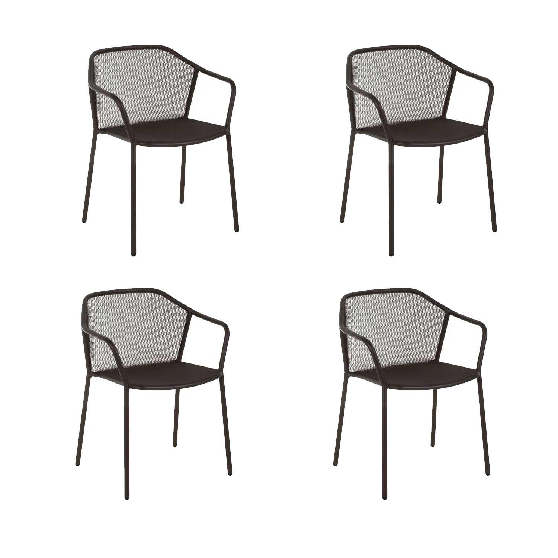 Oferta Emu 4 sillones de acero apilable Darwin Marrón India ...