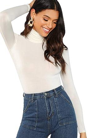 SOLY HUX Mujer Camisetas de Manga Larga Ajustado Básico de Cuello Alto 2019 Top: Amazon.es: Ropa y accesorios