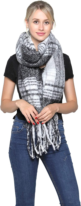 301-3 Belle Dame Womens Fashion Long Shawl Large Color Block Plaid Blanket Scarf Wrap
