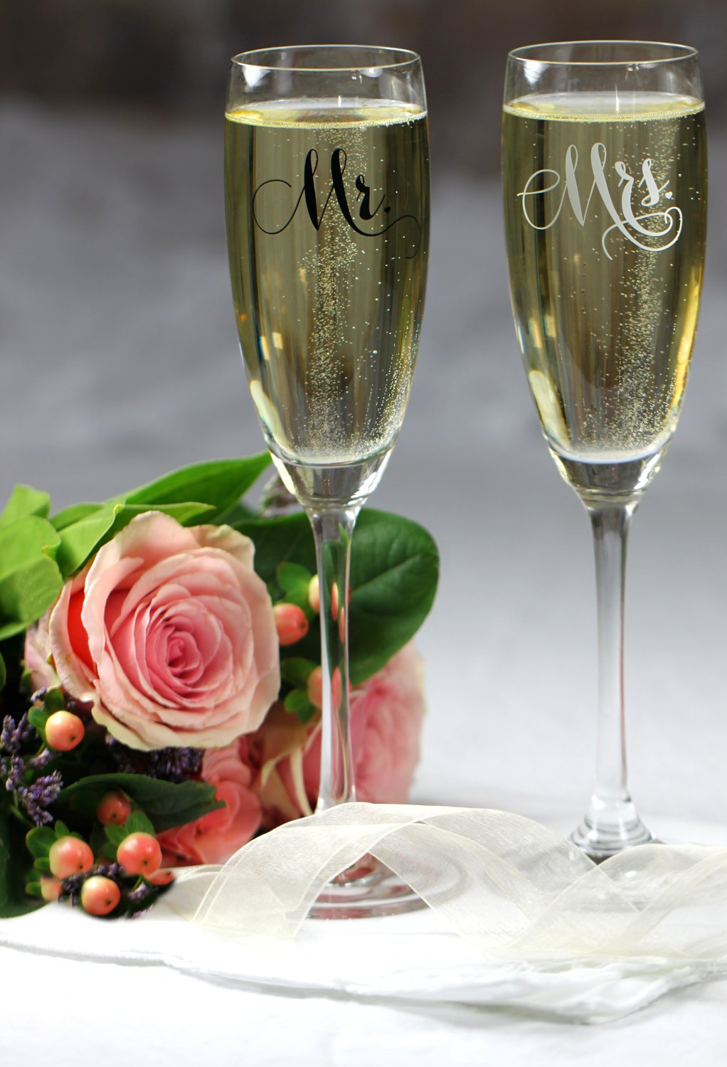 All Things Weddings, Mr. and Mrs. Wedding Glass Champagne Toasting Flutes, Reception or Engagement Bride and Groom Glasses, Set of 2 by All Things Weddings (Image #5)